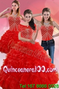 Elegant Red Quince Dresses With Beading and Ruffles for 2015