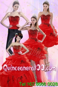 Elegant Red Quinceanera Dresses with Appliques and Pick Ups for 2015