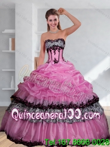 Elegant Zebra Printed Strapless Quinceanera Dress with Pick Ups and Embroidery