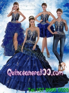 New Arrival Navy Blue Sweetheart Quinceanera Dress with Embroidery and Ruffles