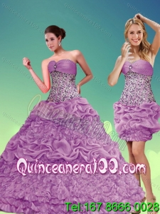 2015 Elegant Lilac Sweetheart Quinceanera Dresses with Beading and Pick Ups