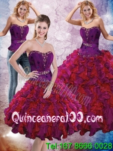 2015 Elegant Multi Color Quinceanera Dresses with Ruffles and Beading