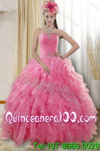 2015 Elegant Rose Pink Quinceanera Dresses with Ruffles and Beading