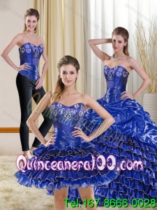2015 Elegant Royal Blue Sweet 15 Dress with Ruffled Layers and Beading