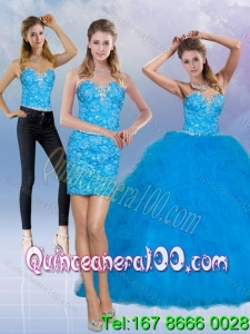 2015 Elegant Teal Sweetheart Quince Dresses with Sequins and Ruffles
