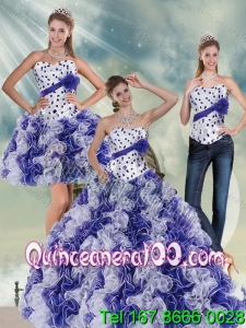 2015 Elegant White and Purple Quinceanera Dress with Ruffles and Beading
