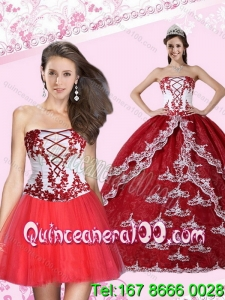 2015 Most Popular Appliques Strapless Quinceanera Dress in Multi Color