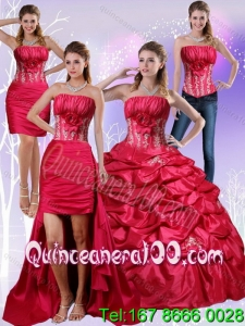 2015 Most Popular Strapless Red Quinceanera Dress with Appliques and Pick Up