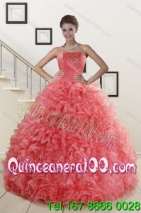 2015 New Arrival Watermelon Red Quince Dresses with Beading and Ruffles