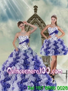 2015 New Arrival White and Purple Quince Dress with Beading and Ruffles