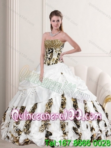 2015 New Style Leopard Printed White Strapless Quinceanera Dresses with Pick Ups