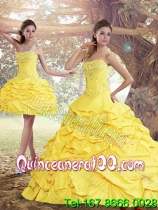 2015 Perfect and Most Popular Yellow Strapless Brush Train Quinceanera Dresses with Beading