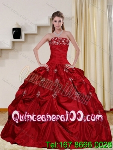 2015 Pretty and Most Popular Strapless Quinceanera Dress with Embroidery and Pick Ups