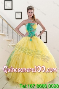 Elegant 2015 Strapless Yellow and Green Sweet 15 Dresses with Ruching