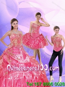 Elegant 2015 Watermelon Quinceanera Dress with Ruffled Layers and Appliques