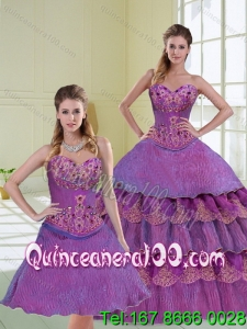 Elegant Beading and Ruffled Layers Purple Quinceanera Dress