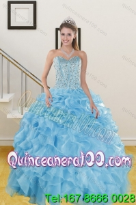 Elegant Ruffles and Beading Baby Blue Quince Dresses for 2015