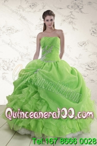 Elegant Spring Green Strapless Sweet 15 Dresses with Ruffles and Beading