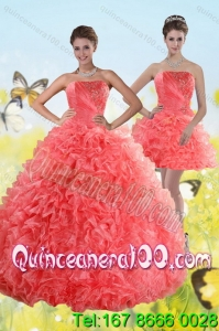 Elegant Watermelon Strapless 2015 Quince Dresses with Beading and Ruffles