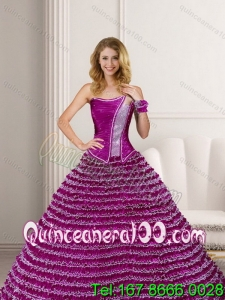 New Arrival 2015 Quinceanera Dresses with Ruffled Layers and Beading
