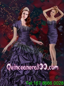 New Arrival Appliques and Pick Ups Purple Quinceanera Dresses