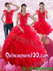 New Arrival Red Sweetheart Quince Dresses with Ruffles and Beading for 2015