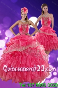New Arrival Strapless Quince Dresses with Ruffles and Appliques