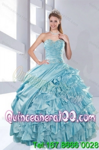 New Arrival Sweetheart Beading Aqua Blue Quinceanera Dresses in Taffeta for 2015