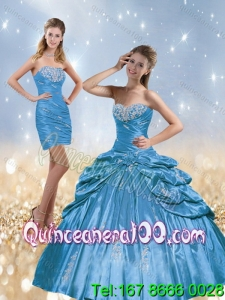 2015 New Arrival Beading and Pick Ups Quinceanera Dresses in Baby Blue