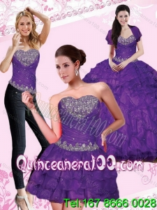 2015 New Arrival Eggplant Purple Quince Dresses with Beading and Ruffled Layers