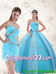 New Arrival 2015 Quinceanera Dresses with Ruching and Appliques