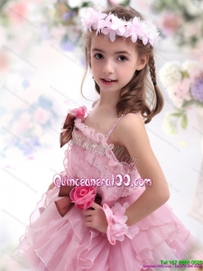 2015 Baby Pink Hand Made Flowers Kid Pageant Dress with Hand Made Flowers and Ruffles