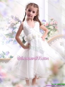 2015 Cute Halter Top White Mini Length Kid Pageant Dresses with Hand Made Flower
