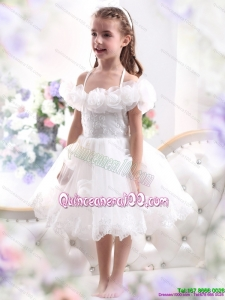2015 White Halter Top Kid Pageant Dresses with Hand Made Flower