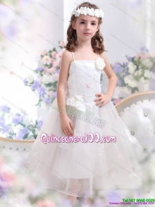 2015 White Spaghetti Straps Kid Pageant Dress with Hand Made Flower and Appliques