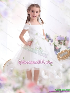 Gorgeous Spaghetti Straps White 2015 Kid Pageant Dress with Hand Made Flowers