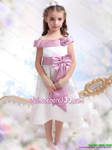 Off The Shoulder White 2015 Kid Pageant Dress with Flower and Bowknot