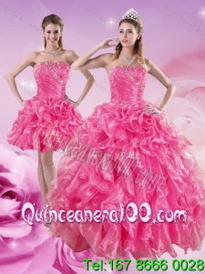 Trendy Hot Pink Quince Dresses with Beading and Ruffles for 2015