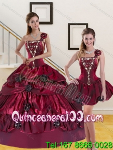 2015 Detachable and Trendy Beading and Pick-ups Quinceanera Dress in Burgundy