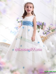 2015 White Scoop Kid Pageant Dress with Baby Blue Waistband and Appliques