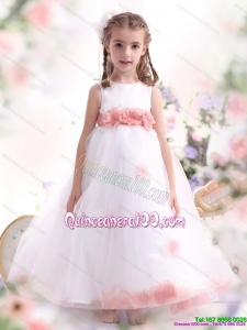 White Little Girl Pageant Dresses with Pink Waistband and Hand Made Flower for 2015