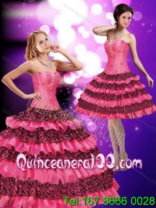 2015 Luxurious Hot Pink Strapless Quinceanera Dresses with Beading and Ruffled Layers