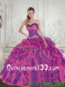 2015 Luxurious Multi Color Quinceanera Dresses with Beading and Ruffles