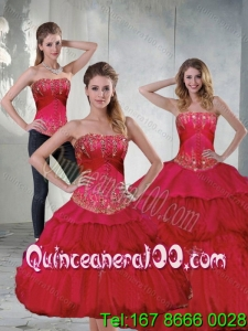 2015 Luxurious Red Quinceanera Dresses with Beading and Ruffles