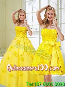 2015 Luxurious Yellow Quinceanera Dresses with Rolling Flowers and Bowknot