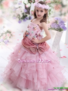 2015 Rose Pink Kid Pageant Dress with Hand Made Flowers and Ruffled Layers