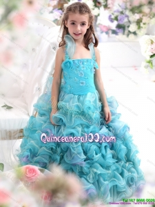 2015 Straps Appliques and Ruffled Layers Pageant Dresses for Kids in Aque Blue
