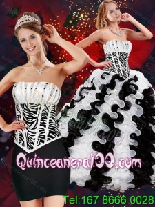 2015 Unique Strapless White and Black Quince Dresses with Beading and Ruffles