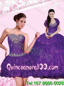 2015 Wholesale Eggplant Purple Dresses for Quince with Beading and Ruffled Layers
