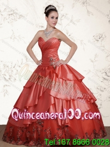 2015 Wholesale Watermelon Sweetheart Quinceanera Dresses with Beading